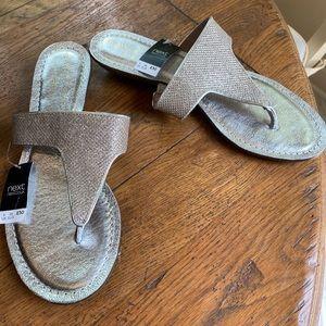 NWT Next (U.K.) silver glitzy sandals in size 38